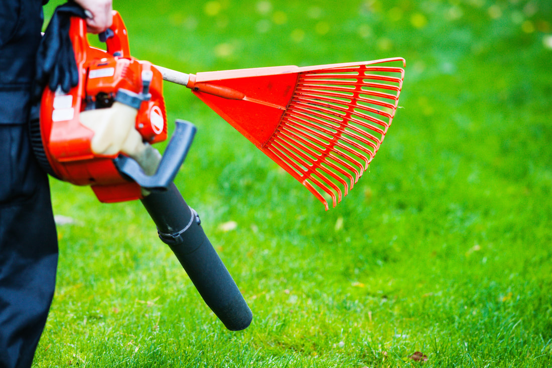 Gardener holding a red rake and red leaf blower clearing the area of leaves.